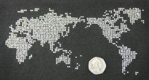 SC470: Swarovski Krystallmotiv – World Map